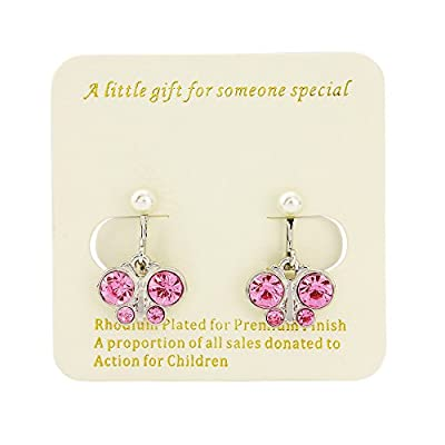 Pink butterfly clip on earrings with pearl finish - Rhodium finish - Includes organza bag