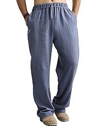 Youlee Hommes Coton Lin Élastique Taille Pantalons avec Poches