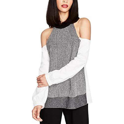 Rachel Rachel Roy Womens January Cold Shoulder Ribbed Uniform Shirt B/W XL -