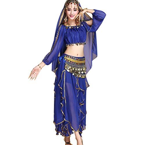 TianBin Damen Bauchtanz-Kostüm Langärmeliges Oberteil Lange Volant Tanzrock mit Zubehör (Saphir#6, One Size)