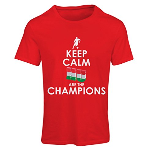 Frauen T-Shirt Hungarians are the champions ! (X-Large Rot Mehrfarben) (T-shirt Flag Art-union Jack)