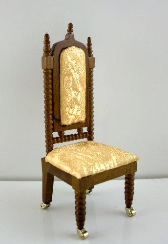 Sedia Libreria in Miniatura per Casa delle Bambole Mobili Lincoln Legno di Noce e Oro 753