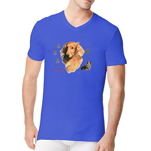 Im-Shirt - Hunde Motiv: Langhaardackel Dachshund cooles Fun Men V-Neck - verschiedene Farben Royal