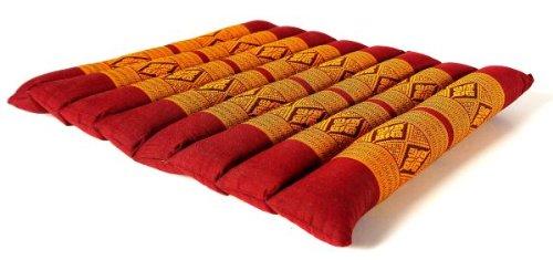 Kapok Sitzkissen 35x35x4cm, optimal als Stuhlauflage oder Meditationskissen, Bodenkissen bzw. Stuhlkissen (rot / gelb)