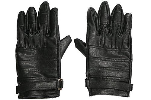 Xcoser Kylo Handschuhe Schwarz PU-Leder Voller Finger Gloves Erwachsene Halloween Cosplay Kostüm Zubehör Fancy Dress Prop (Zubehör Halloween)