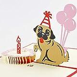 BC Worldwide Ltd handgefertigte 3D Pop-up-Geburtstagskarte Kuchen Mops Hund Tier Haustier Freund Familie Liebe Kind Kind Partner Frau Ehemann Origami Kirigami Papier Handwerk Geschenk