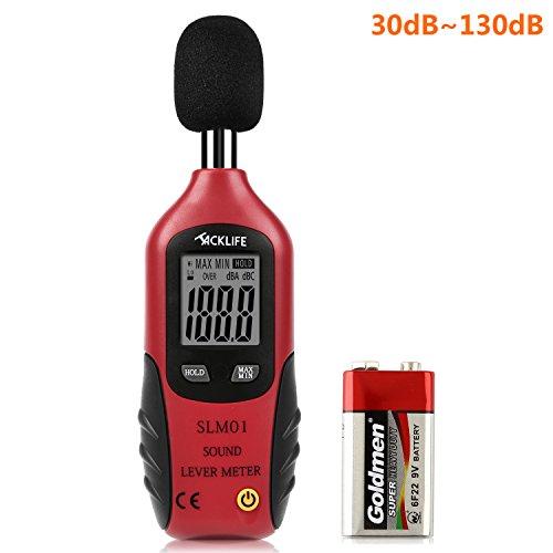 Tacklife SLM01 Fonometro Digitale Professionale Misuratore di Rumore Antiscivolo Tester 40 dBA-130 dBA con Display Retroilluminato Batteria