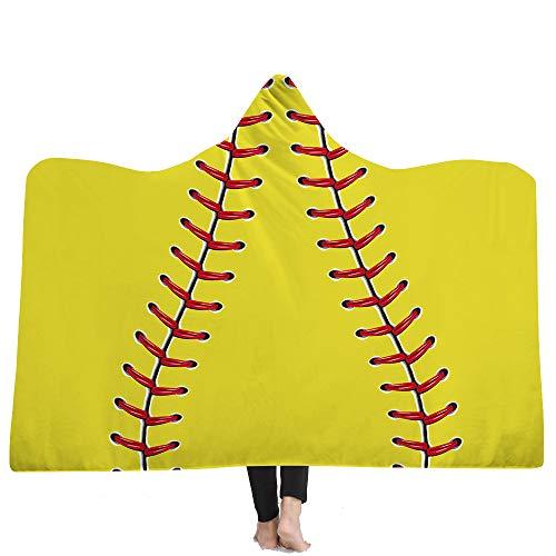 Mit Kapuze Decke, Baseball-Print mit Kapuze Decke, Mantel Zauberhut 3D Nacht Sofa Decke,4,130 * 150cm (Baseball-decke)