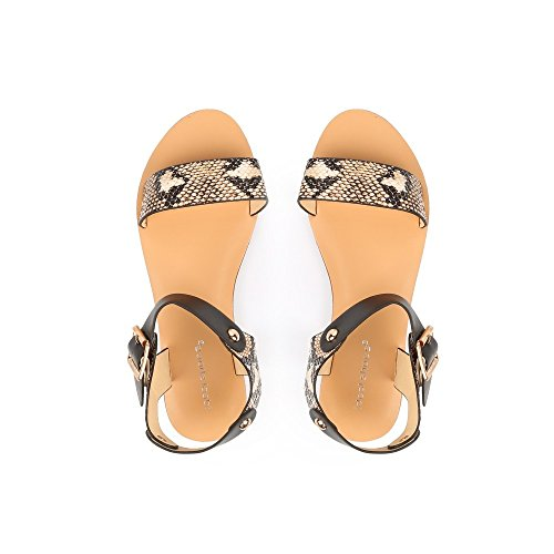 Ideal Shoes Sandales Aspect Reptile Oprah Beige