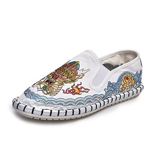 YOPAIYA Espadrilles,Das Weiße Tuch Schuhe Männer Stellen Schuhe Thorn White Dragon King Stickerei Spirituelle Gesellschaft Alten Peking Canvas Schuhe, 43