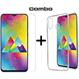 Casotec Combo Soft Clear TPU Back Case Cover with Hammer Proof Impossible Film Screen Protector [Not a Tempered Glass] Screen Guard for Samsung Galaxy M20