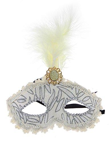 EOZY 3 Pc Masque Pour Halloween Bal Mascarade Carnaval Plume Princesse Partie (blanc floral) (5.blanc)