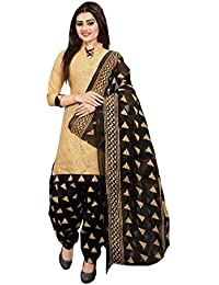 b975c9109 Sretan Women s Cotton Salwar suit Un stitched Dress Material (Beige and  Black)