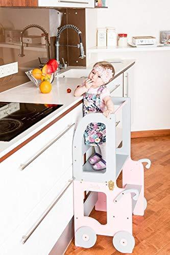Torre di apprendimento, scrivania E Sgabello Montessori Rosa/Grigio