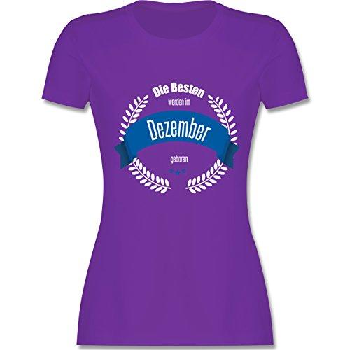 Geburtstag - Die Besten werden im Dezember geboren - tailliertes Premium T-Shirt mit Rundhalsausschnitt für Damen Lila