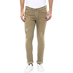 Spykar Mens Beige Super Skinny Fit Low Rise Jeans (Actif) (38)