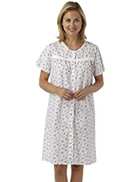 709a5e422f Marlon Ladies Short Sleeved Poly Cotton Button Through Coat Nightdress.  Blue Pink or Lilac Floral. Sizes 10-12 12…