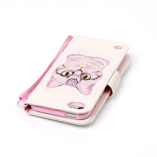 Cover iPhone SE ISAKEN Drawing Pattern Design Elegante borsa Custodia in Pelle PU per iPhone 5S Sintetica Rigida Case Cover Protettiva Flip Portafoglio Case Cover Protezione Caso con Supporto di Stand Gatto