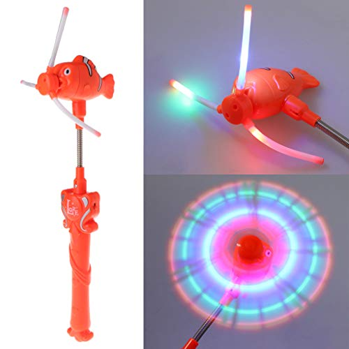 (sunhoyu Neuheit Plastik Tier Spielzeug ,Halloween Party Trick Spielzeug, Elektrische Fisch Windmühle Kinder Spielzeug Blinkt Glow Stange Musical Zauberstab Für Kind)