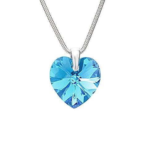 LillyMarie Damen Kette Silber 925 original Swarovski Elements Herz-Anhänger hell-blau längen-verstellbar Schmucketui, beste Freundin