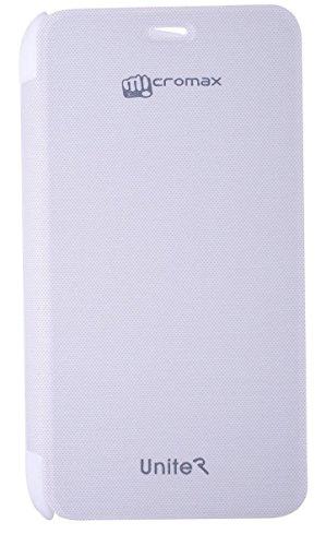 Dashmesh Shopping Premium Durable Flip Cover Case for Micromax CANVAS Unite 2 A106 White with Screen Guard