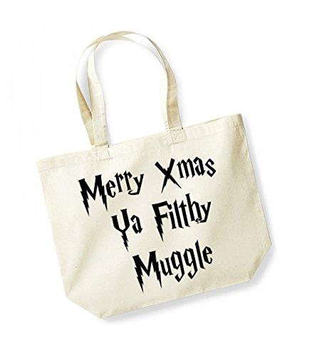 Merry Xmas Ya Filthy Muggle - Large Canvas Fun Slogan Tote Bag Natural/Black