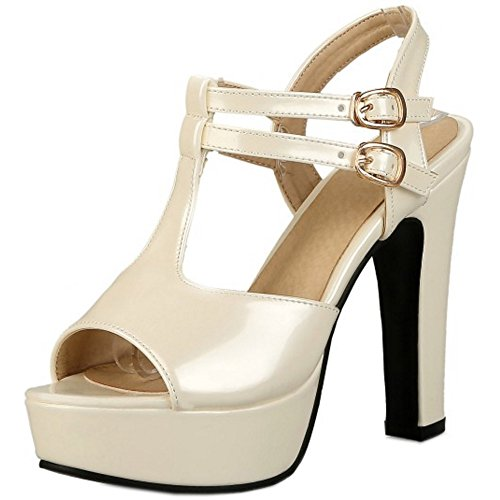 COOLCEPT Damen Mode T-Spangen Sandalen Peep Toe Slingback Plateau Blockabsatz Schuhe Beige