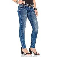 Cipo&Baxx WD286 Yıkanmış Slim Fit Bayan Mavi Kot Pantolon