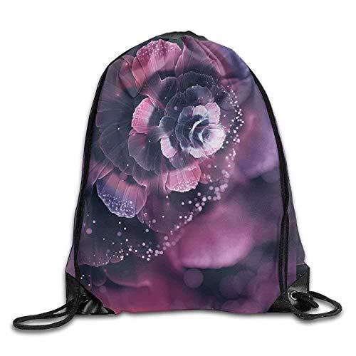 Metallic Abstract Print (ZHIZIQIU 3D Print Drawstring Bags Bulk, Abstract Artistics Fractal Purple Unisex Outdoor Sack Bag Sport Drawstring Backpack Bag Size: 4133cm)