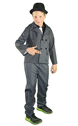 Foxxeo 40240 I Mafiaboss 20er Jahre Gangster Anzug Der Mafia Anzug Kinderkostüm Pate Nadelstreifen Kostüm, (Mafia/pate Kostüme)