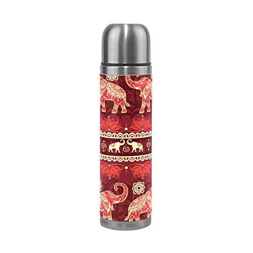 Botella de agua con diseño de elefantes sin costuras, de acero inoxidable...