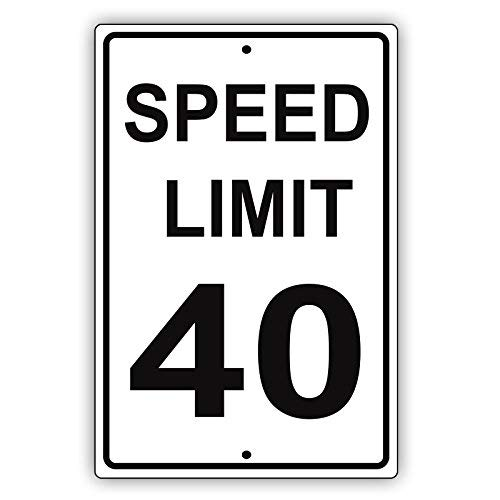 Modtory Speed Limit 40 mph Miles Hora Negro Letters