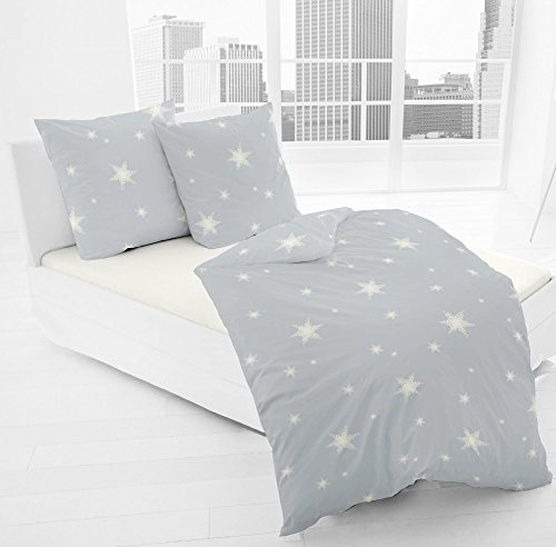 JACK by Dormisette Fein Biber Bettwäsche Stern Sterne Hellgrau Grau Weiß, Größe:135x200cm (Weiche Flanell-bettwäsche)