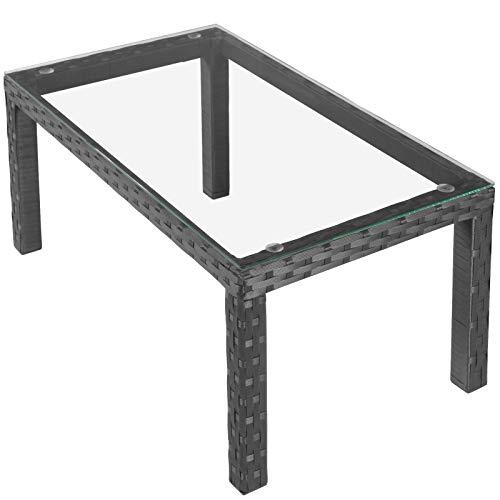Miadomodo Gartentisch mit Glasplatte