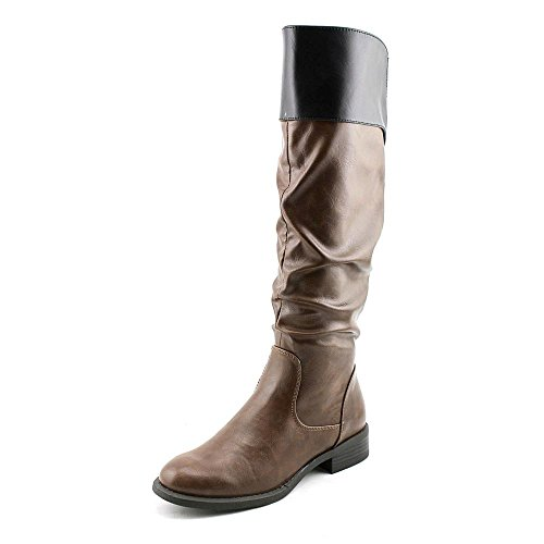 Nine West Leonora Wide Calf Rund Synthetik Mode-Knie hoch Stiefel Cognac/Black