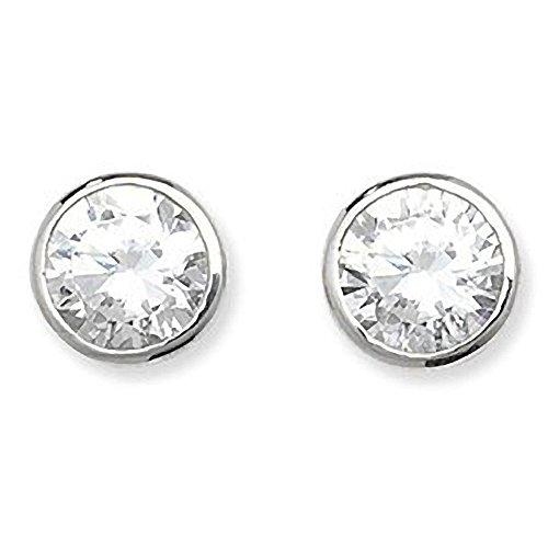 Blanco de Juego de pendientes de tuerca - 6 mm con circonitas de diamante postes de