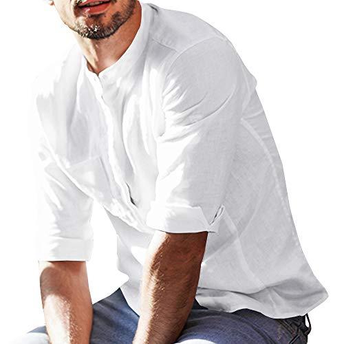 Fueri -  camicia casual - tinta unita - collo alla coreana - uomo bianco l