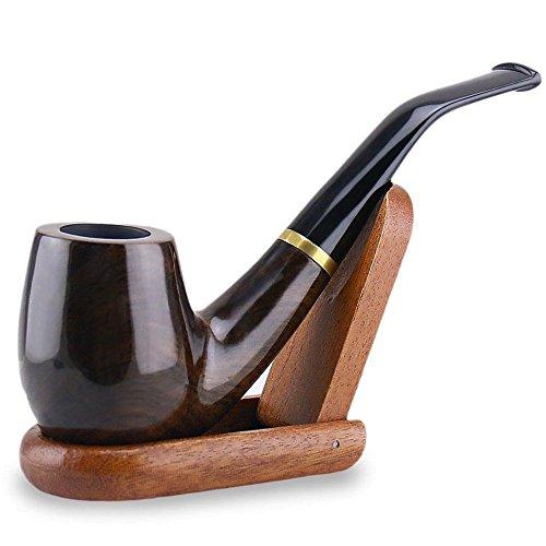 Joyoldelf Tabaco de fumar pipa de madera 'Maigret' Negro, Liso, doblado, hecho a mano + Soporte