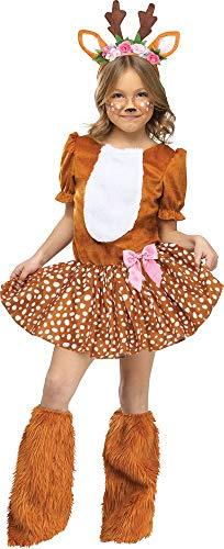 Rehkitz Halloween Kostüm - Oh Deer REH Kinder Kostüm Rehkitz Bambi Rentier Hirsch Mädchen Verkleidung Kleid, Größe:S - 4 bis 6 Jahre