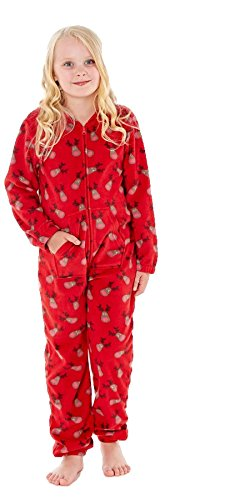 Unisex renna all over stampa pigiama in pile, reindeer red, 9/10 anni