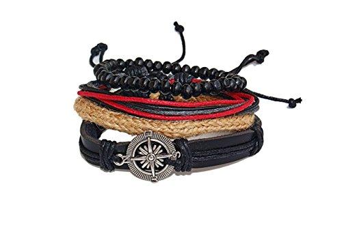 4 Stück Herren Armband Set -Lederarmband geflochten -Vintage Holz Armbänder -Holzperlen -Kompass -Größe Verstellbar -Unisex Hanf Echtleder -perfekte Geschenkidee -Freundschaftsarmbänder