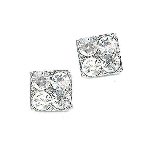 Akki Magnet Ohrringe für Herren Damen strass magnetische ohrringe für männer junge ohne ohrlöcher clip silber quadratische Ohrstecker mit weiße strasssteine Schwarz Herren schmuck Model 002