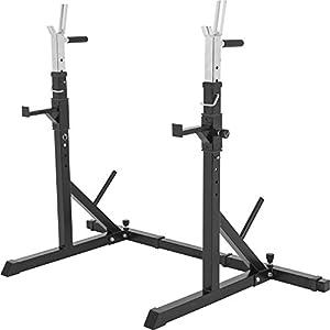 GORILLA SPORTS® Kniebeugen-Ständer Squat-Rack Schwarz – Ablage für Langhantelstangen, Breite und Länge verstellbar