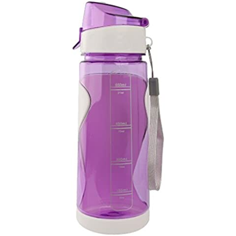 650ml Bottiglia D'acqua Bicicletta Borracce Sport BPA-free per Escursioni Viaggio - Viola