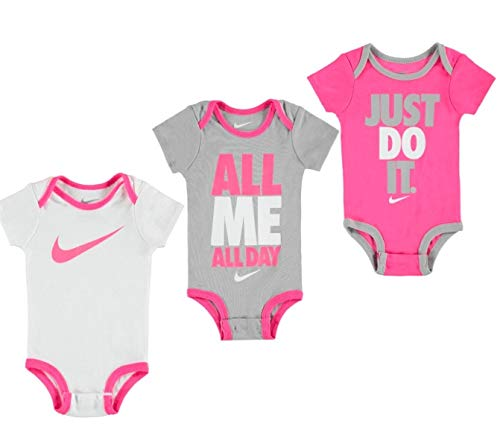 Nike Swoosh Three-Piece Infant Baby Bodysuit Set (0-6 Months, Hyper Pink (0816) /Grey/White/Hyper Pink) -