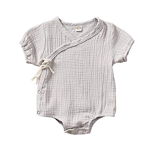 Kleinkind Baby Mädchen Junge Outfits Einfarbig Strampler Kurzarm Spielanzug Side Snap Baby Toddler Baby Neugeborenes Kinderkleidung (Weihnachten-outfits Jungen Kleinkind)