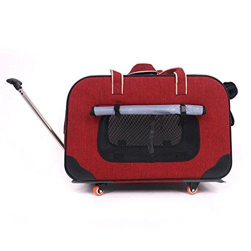 Haustier Rollen Träger Mit Entfernbar Vier Räder Hund Katze Reise Rucksack Tragbar Gepäck Tasche Trolley-Box. Cacoffay,Red (Tier-rucksack Mit Rädern)