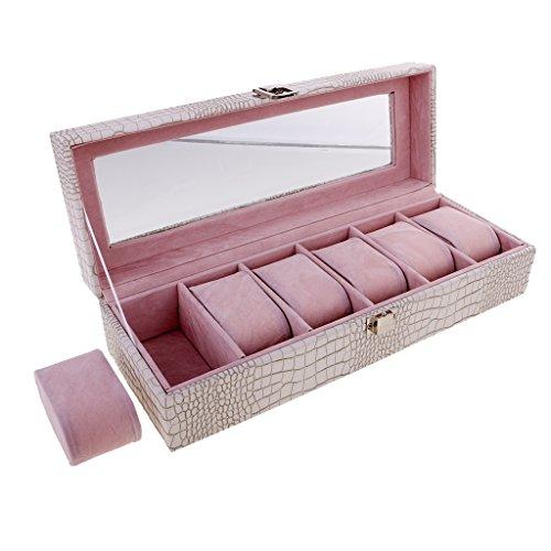 ren Box für 6 Uhren Uhrenkasten mit Glas Deckel Geschenk für Frauen Männer - Weiß ()