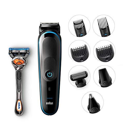 Braun mgk5080 rifinitore 9-in-1 tutto-in-1, rasoio barba elettrico, regolabarba uomo, tagliacapelli, rifinitore corpo, naso/orecchie e di precisione, rasoio gillette fusion5 proglide, blu/nero