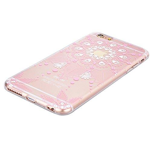 Für iPhone 6 Plus / iPhone 6S Plus Cover, Yokata Transparent mit Blumen und Laub Motiv TPU Backcover Soft mit Weich Silikon Bumper Crystal Schutzhülle Durchsichtig Extrem Slim Dünne Case Hülle - Rosa Rosa